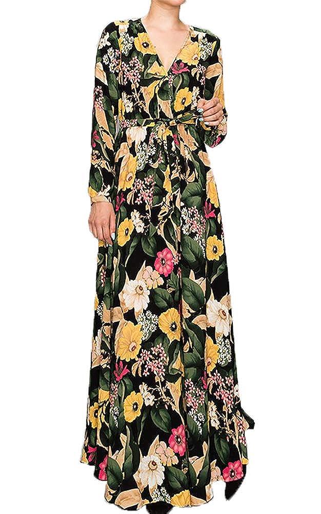 30e25265bcb Aakaa Women s Maxi Dress Black Multi Small at Amazon Women s Clothing store