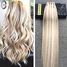 """Ugeat 18Inch 50Gram 12"""" Width Per Package Micro Bead Weft Hair Extensions Pinao Color Honey Blonde #27 Highlight With Bleach Blonde #613 Micro Beads Easy Weft Hair"""