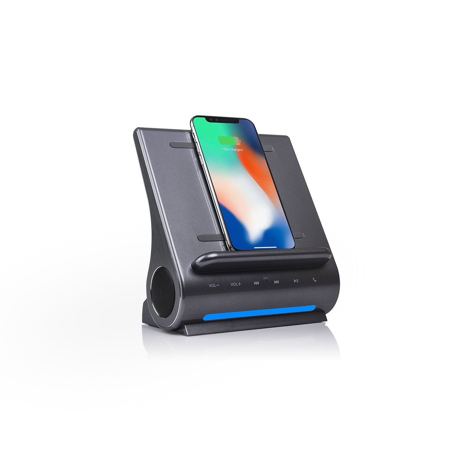 Azpen Dockall D108 Fast Qi Wireless Charger, Upgrade Bluetooth Speakers, Docking Station with Built in Mic Handsfree Call, 2 USB Ports, Charge Up to 3 Devices for Samsung and iPhone