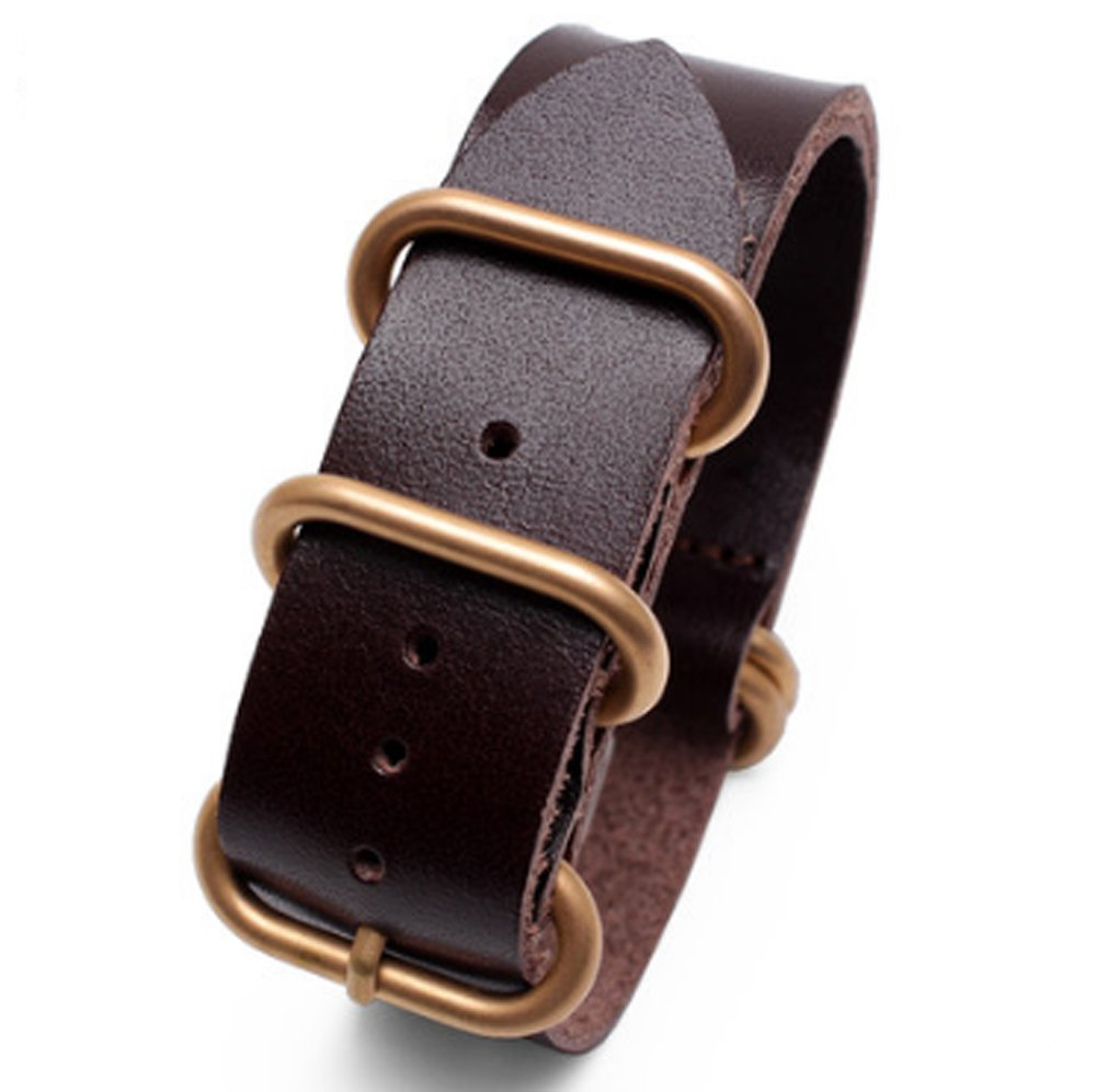 20 mm/22 mm/24 mm/26 mmビンテージレザー時計ストラップバックルバンドFits for Rolex Submariner 20mm Brown(Gold buckle) 20mm|Brown(Gold buckle) Brown(Gold buckle) 20mm B07BHL85G2