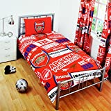 Arsenal FC Childrens/Kids Official Patch Football Crest Duvet Set (Twin Bed) (Red)