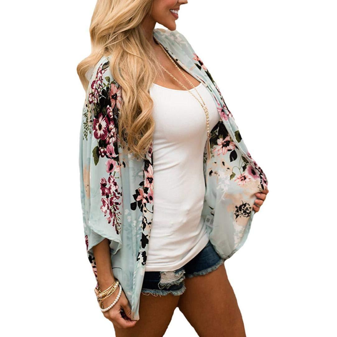 Pandaie Women Jacket,Feitong Women Chiffon Floral Kimono Loose Half Sleeve Shawl Chiffon Cardigan