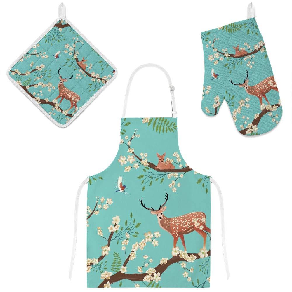 U-Life Apron with Glove Oven Mitt Pot Holder Set Vintage Deer Elk Christmas Floral Flowers for Women Men Kids