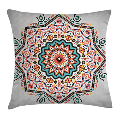 Ambesonne Tribal Throw Pillow Cushion Cover, Abstract Aztec Style Kaleidoscope Themed Boho Ethnic Sun Pattern Art Print, Decorative Square Accent Pillow Case, 20 X 20 Inches, Coral Turquoise