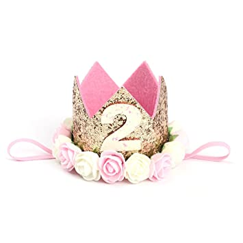 TOYMYTOY Princesa bebé flor corona diadema cumpleaños accesorios para el cabello un tipo 2 (dorado)