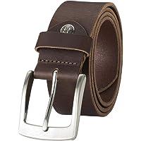 LINDENMANN Läderbälte herr/bälte män, jeansbälte av helnötläder, buffelläder 4 mm, mörkbrun