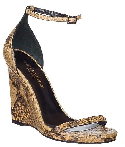 622c3ad6def Amazon.com | Saint Laurent Women's Yellow Python Snakeskin Wedge Sandals  Shoes, Yellow, US 6.5 / EU 36.5 | Platforms & Wedges