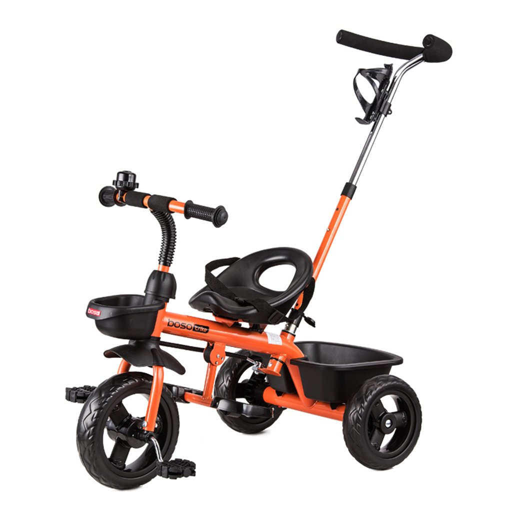 HAIZHEN マウンテンバイク 子供の三輪車フロントホイールクラッチは、軽いホイールハブの自転車ダブルブレーキ一押しプッシュロッドバスケット折りたたみペダルベビーバイク 新生児 B07DS1PHDH オレンジ オレンジ
