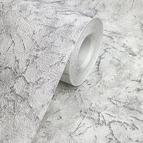 113.52 sq.ft roll Embossed Slavyanski modern plain wallcoverings faux cracked plaster imitation effect Vinyl Non-Woven Wallpaper white silver metallic textured strippable coverings paste the wall only -