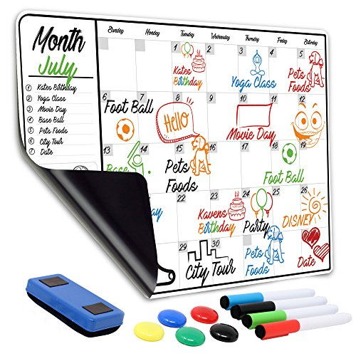 "Monthly Magnetic Dry Erase Calendar | 13"" x 19"" Large Magnetic White Board For Refrigerator & Wall With 1 Eraser, 4 Markers & 5 Buttons – Meal Menu Grocery Chore ()"