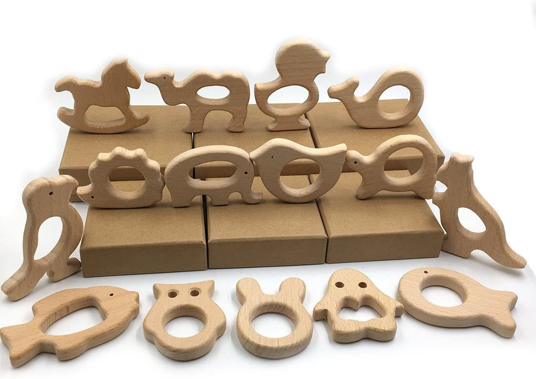Coskiss Juguetes de bricolaje para beb/és de bricolaje Set 15 piezas de Haya natural org/ánica Juguete de madera Beb/é hecho a mano Animales de madera mordedor Hacer capacidad inteligente para beb/és