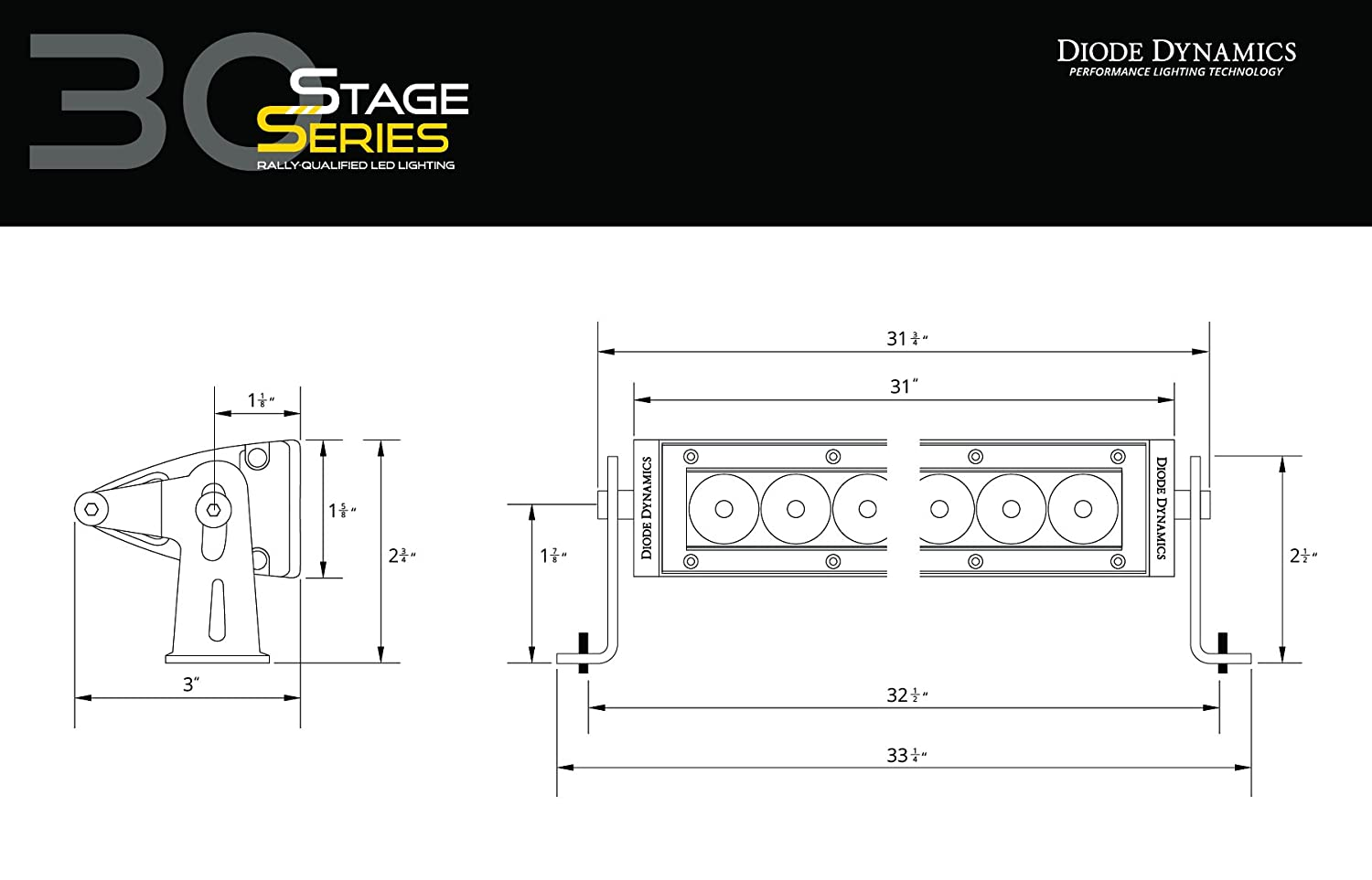 Diode Dynamics Stage Series SS30 White Driving LED Light Bar