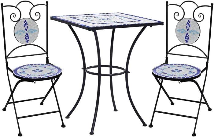 arredi da Balcone in Pieghevole per Giardino Veranda e terrazza Set di Arredamento per Esterni in antiruggine Azzurro e 2 Sedie H90 x D75cm Amagabeli Set da Bistrot 1 Tavolo H83 x W42 x D38cm