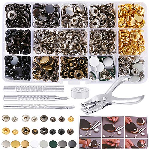 Caydo 140 Sets 8 Color Snaps Fastener Kit Metal Snaps Button Press Studs Clothing Snaps Kit with 4 Pieces Fixing Tools and 1 Pieces Punch Pliers forLeather, Coat, Down Jacket, Jeans Wear and Wallet