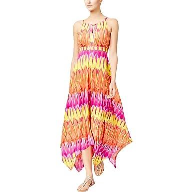 24d54d008a3e7 INC International Concepts Petite Printed Embellished Handkerchief-Hem Maxi  Dress at Amazon Women's Clothing store: