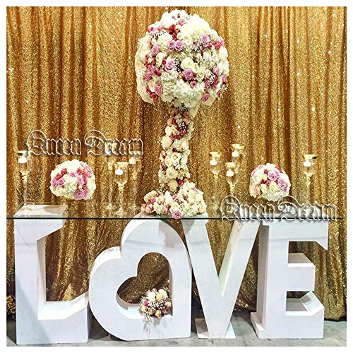 QueenDream 7ft x 7ft Gold Sequin Backdrop Fabric Designed Party Festival Decoration Gold Sequin Backdrop Photography backdrops Wedding -