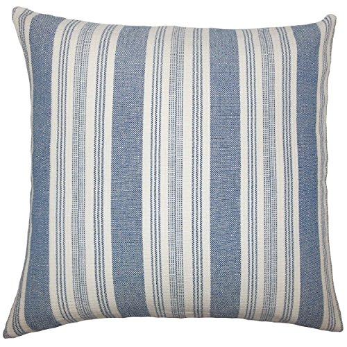 The Pillow Collection EURO-D-32805-DENIM-C100 Reiki Striped Bedding Sham, Euro/26