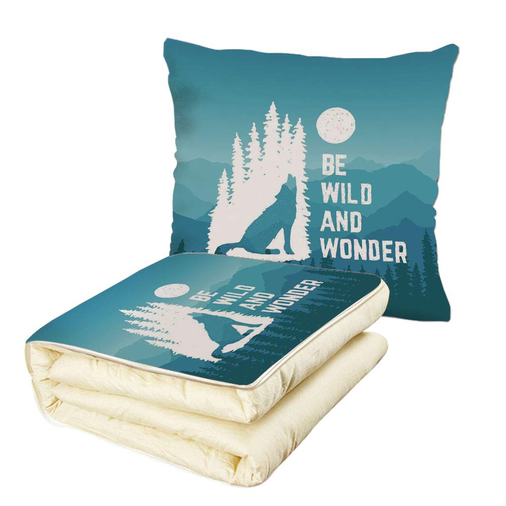 iPrint Quilt Dual-Use Pillow Adventure Hand Drawn Be Wild and Wonder Quote Howling Wolf in The Woods Under Moon Multifunctional Air-Conditioning Quilt Night Blue White