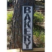 Vintage look and distressed wood framed bakery sign/kitchen/market
