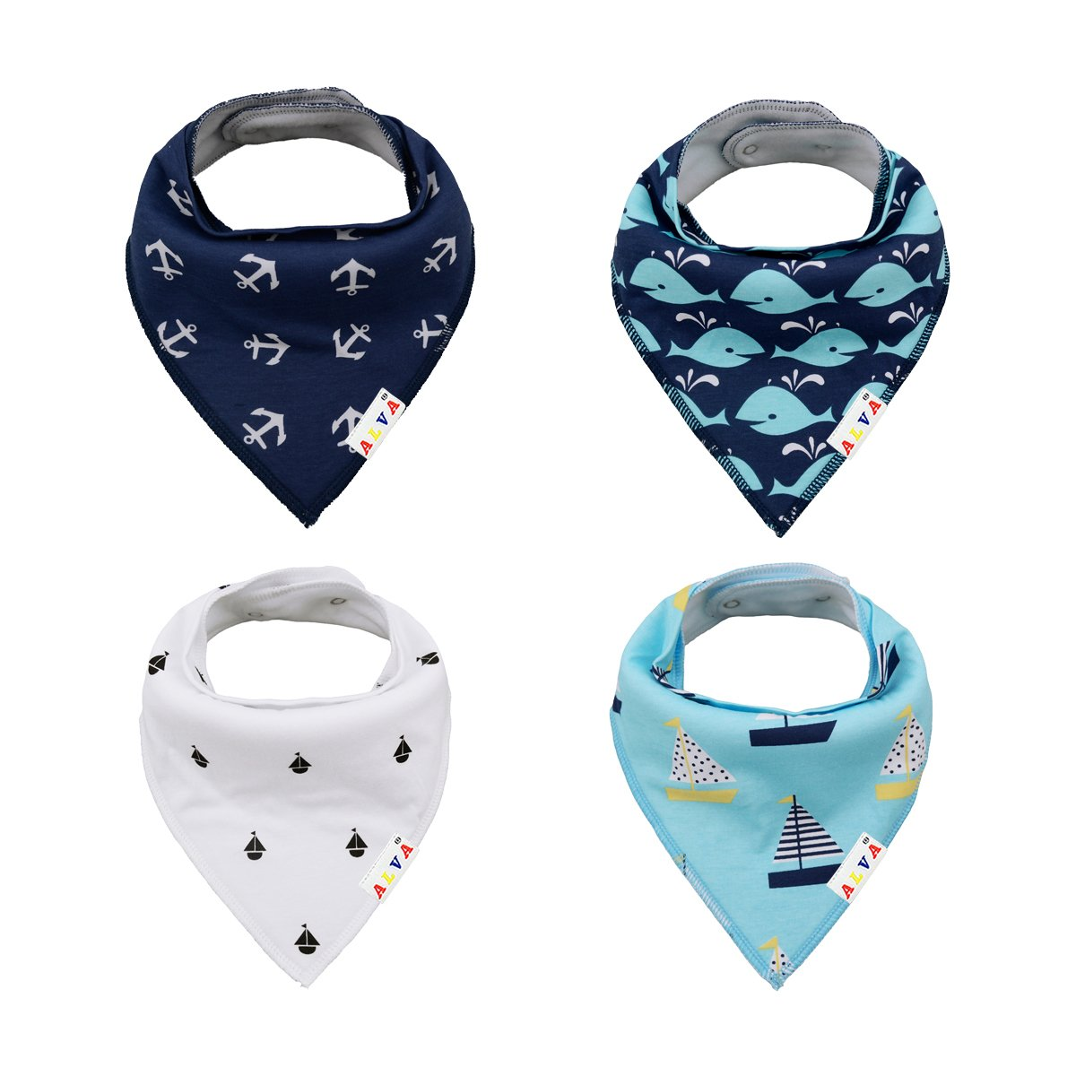 ALVABABY Bandana Bibs Resuable Adjustable for Boys Super Absorbent Baby Gift Settings 8 PCS Pack 8SD06-CA