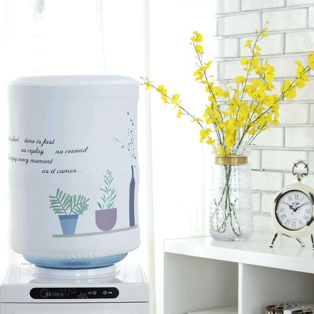 DFYOUHome Water Dispenser Barrel Covers for 5 Gallon Water Bottle, Durable Fabric Bucket Decor, Reusable Furniture Standard Cover Protector for Home, Office or Outdoor (Chlorophytum)