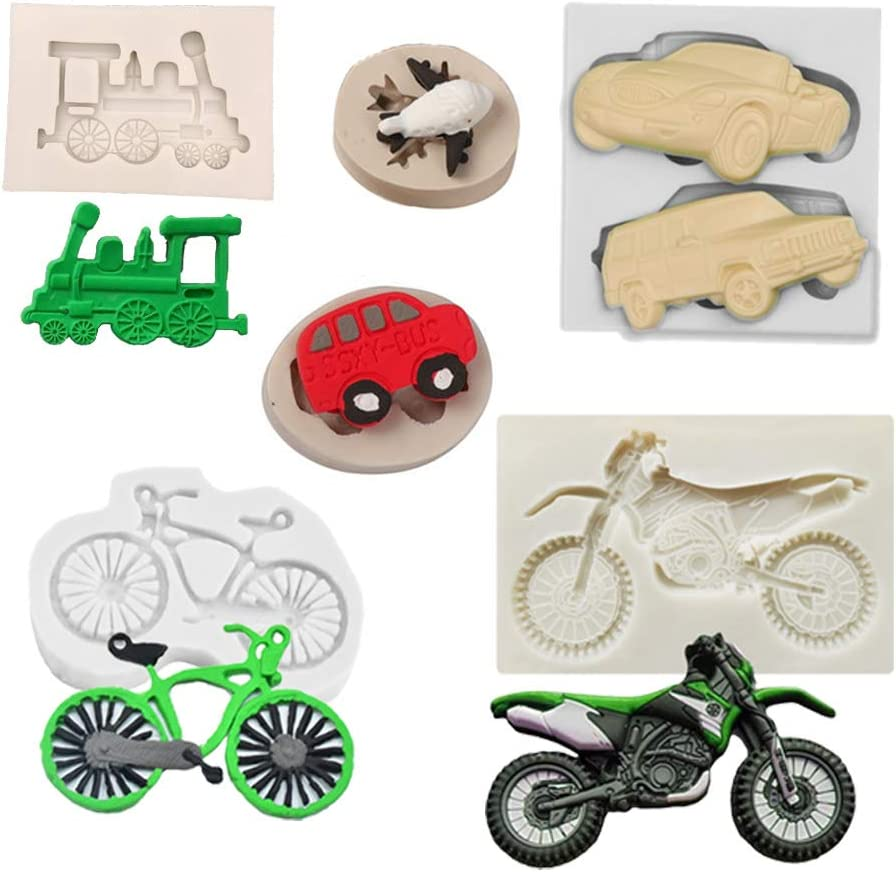 6pcs Mini Cool Vehicle Train Car Airplane School Bus Bicycle Motorcycle Boy Toy Baby Birthday Party Cupcake Topper Fondant Cake Decor Tool Candy Clay Refrigerator Sticker Silicone Mold