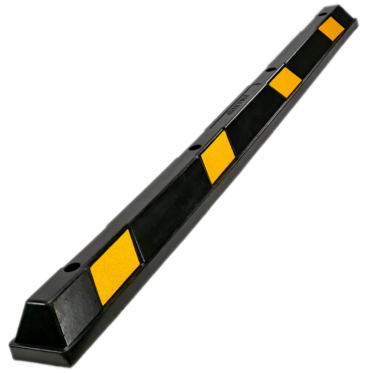Fullstop Vehicle Parking Block, Black Commercial Heavy Duty Rubber Curb with 8 ScatterGlass Reflective Yellow Targets for Car, Truck, RV and Trailer Stop Aid, 72 Inches Long x 4 Inches High