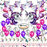 Unicorn Party Supplies Decorations, Favors for Girls & Kids Birthday, Baby Shower  Huge Unicorn Balloons Set, Heart Shaped Foil, Latex Balloons & Cupcake Toppers, 43 PACK Girls Unicorn Theme Decor