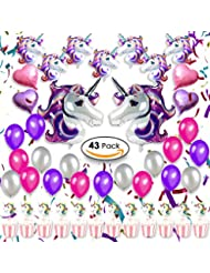 Unicorn Party Supplies Decorations, Favors for Girls & Kids Birthday, Baby Shower