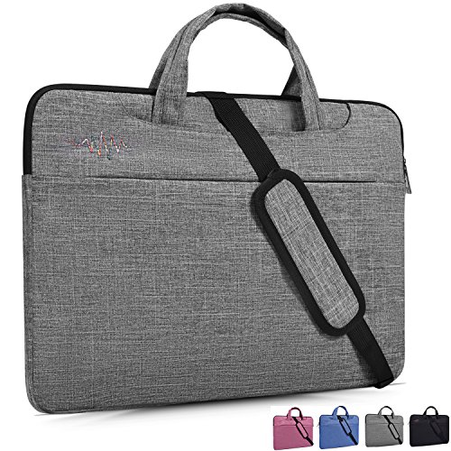 14 Inch Laptop Case,Laptop Shoulder Bag,with Hidden Handle and Adjustable Shoulder Strap,Simplicity Slim Briefcase Commuter Bag Business Sleeve Carrying Handle Bag Notebook Shoulder Messenger Bag,Gray