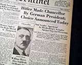 ADOLPH HITLER Becomes German Chancellor JEWISH HOLOCAUST Prelude 1933 Newspapers FITCHBURG SENTINEL, Massachusetts, January 30 & 31, 1933