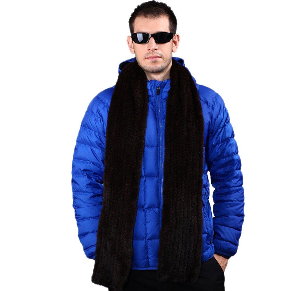 MINGXINTECH mens long length genuine marten fur hand-made scarf winter warm stole
