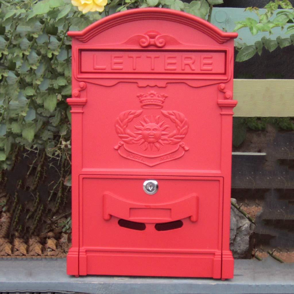 HZB ヨーロッパの郵便箱ヴィラの郵便箱屋外創造的な壁掛けられた郵便箱防水大きい新聞の箱、壁掛けの装飾、Sha Wen赤   B07J315P46