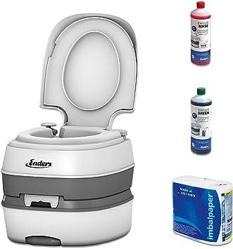 Inodoro portátil para camping, juego Green Enders Deluxe [4992]: WC químico con líquido sanitorio y papel del wáter