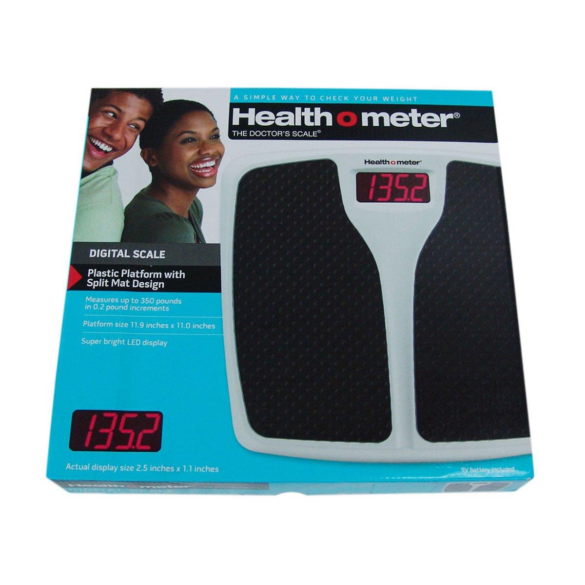 "Used Health o meter Split Black Mat Bath Scale 2.5/"" x 1.1/"" LED display 350lb"