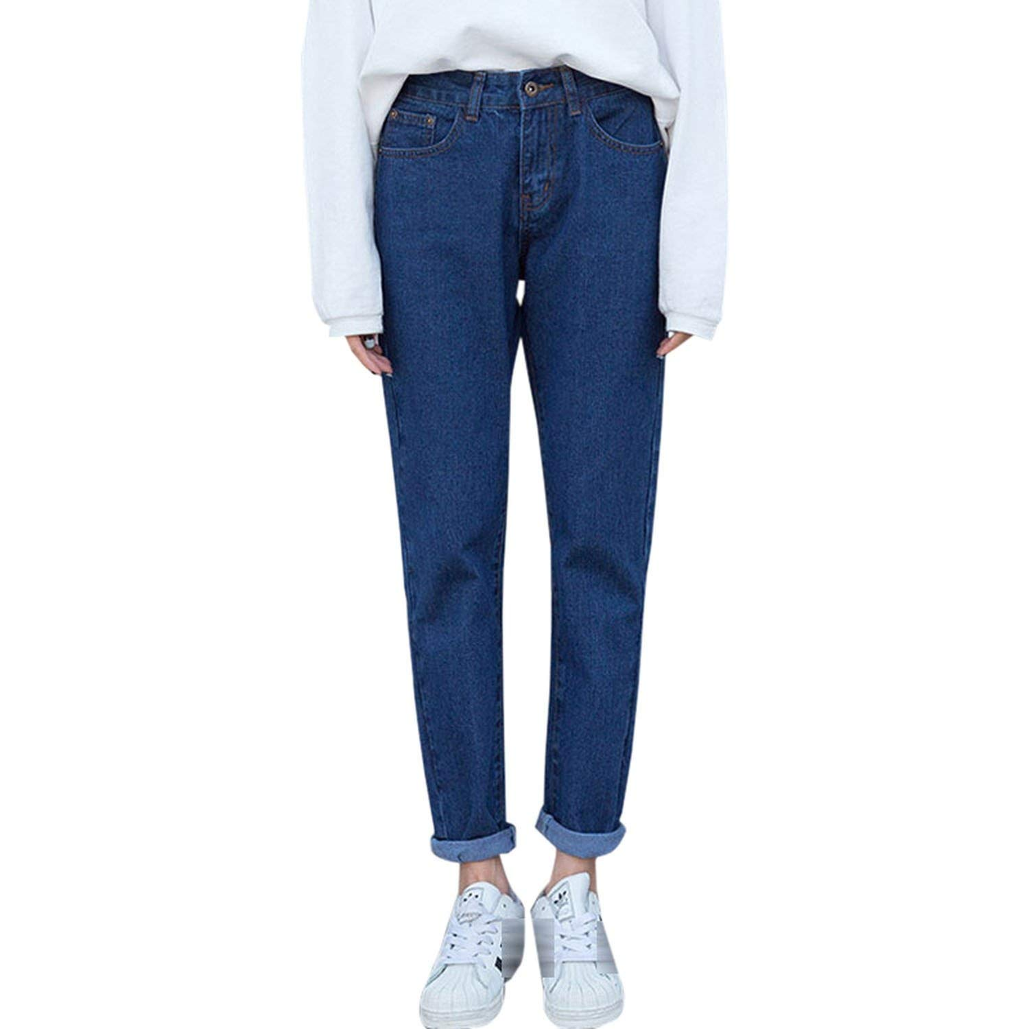 Jeans for Women High Waist Loose Trousers Jeans Casual Preppy Style