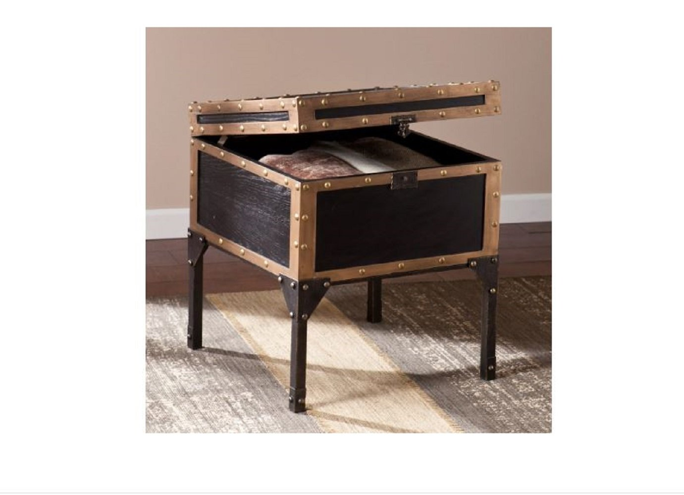 Travel Trunk End Table Storage Side Accent Industrial Antique Bronze by CiciLeesa (Image #2)