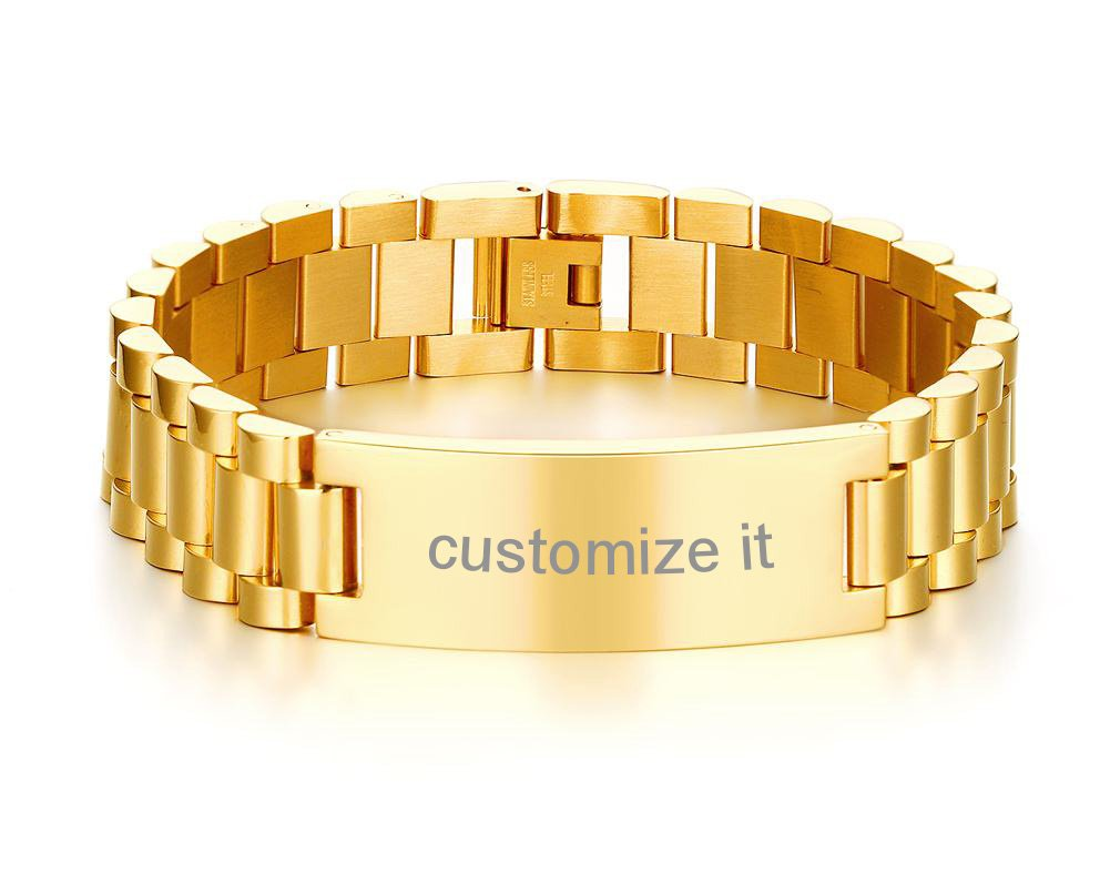PJ Jewelry Personalized Engrave Men's Stainless Steel Chain Classic Watch Band ID Tag Identification Bracelets, Gold Plated