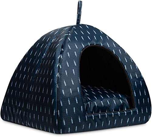 Hollypet Cooling Pet Bed for Cats and Small Dogs 15 x 15 x 15 inches 2 in 1 Foldable Comfortable Triangle Nest Tent House for Summer, Dark Blue