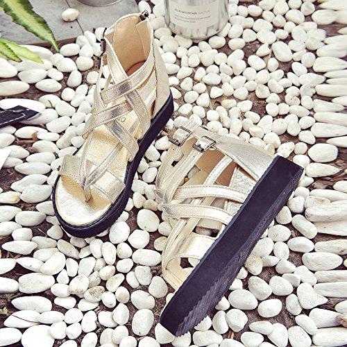 SKY Después de alta-top sandalias clip de cremallera del dedo del pie hueco Sra Sandals Flip Flops Oro