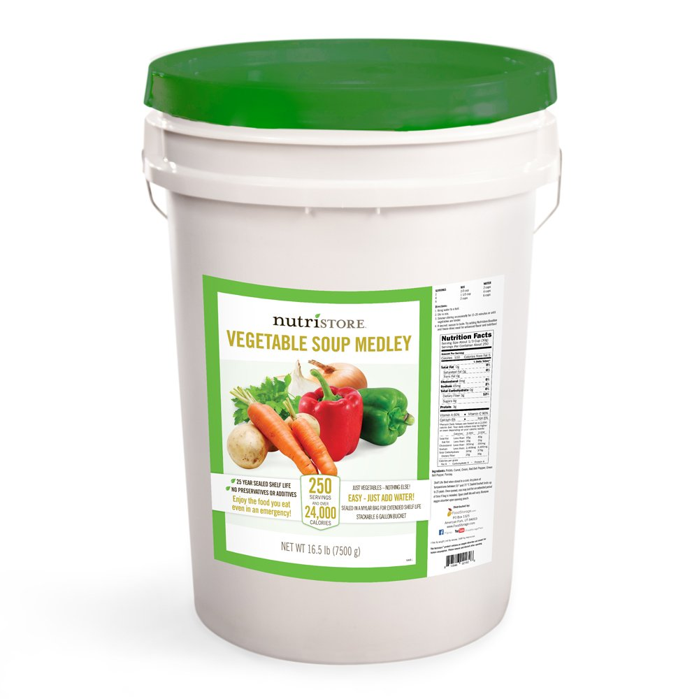 Vegetable Soup Medley Bucket by Nutristore | 16.5 lbs | 250 Servings | 24,000+ Calories | Great Taste | Quick Preparation | Survival Food