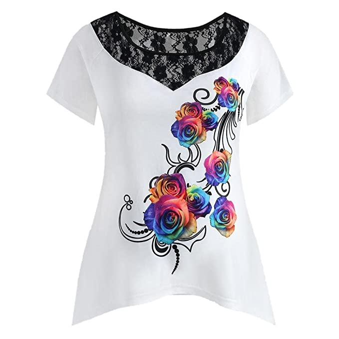 25c8dbf54a16d5 Owill Fashion Womens Plus Size Floral Printed Lace Short Sleeve Tee T-Shirt  Tops (