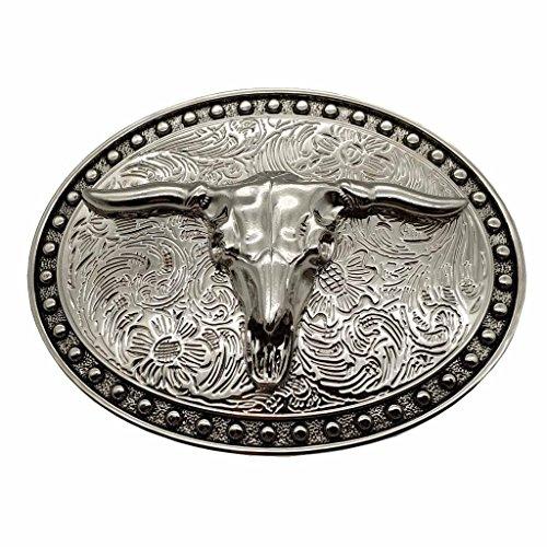 Silver Longhorn Texas Bull Belt Buckle Cowboy Western ()