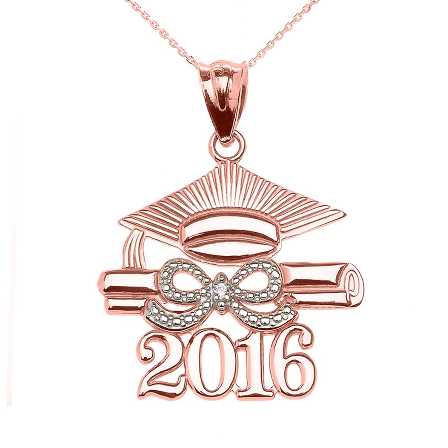 14k Rose Gold Class of 2016 Graduation Pendant Necklace with Diamond