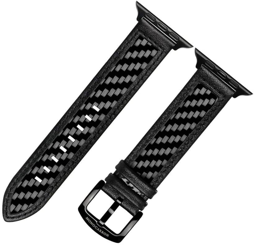 MONOCARBON Genuine Carbon Fiber Watch Bands for Apple Watch 44mm Series 4/5/6/SE, 42mm Series 1/2/3 - Glossy Black (44mm / 42mm)