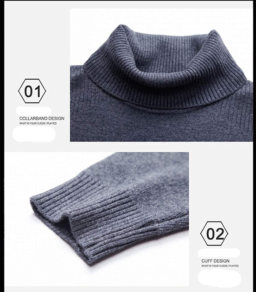 Maglione da Uomo pregiato, Camicia a Fondo Caldo Coreana Slim Collo Alto Moda, Maglione da Uomo Lavorato a Maglia Grigio