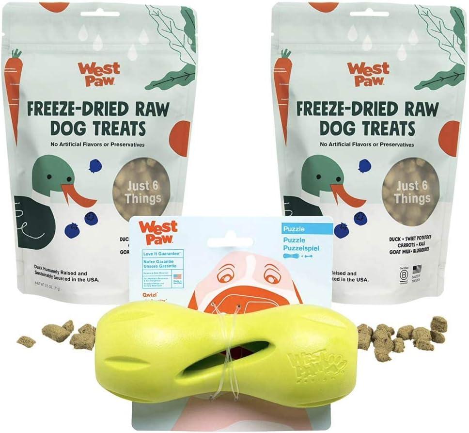 West Paw Duck Superfood Freeze-Dried Raw Dog Treats (2-Pack) & Zogoflex Qwizl Dog Puzzle Treat Toy (Large, Granny Smith)