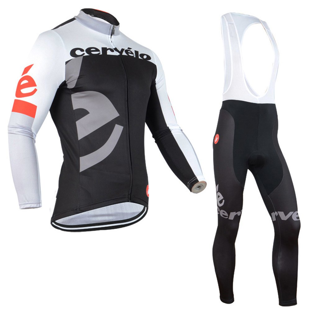 Strgao 2016 メンズ プロチーム MTBバイク 自転車 冬用 保温 サイクリング長袖ジャージ&ビブパンツセット タイツ スーツ B018XXQNSI 5X-Large B B 5X-Large