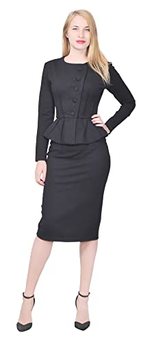 Vintage Suits Women | Work Wear & Office Wear Marycrafts Womens Formal Office Business Shirt Jacket Skirt Suit $49.90 AT vintagedancer.com