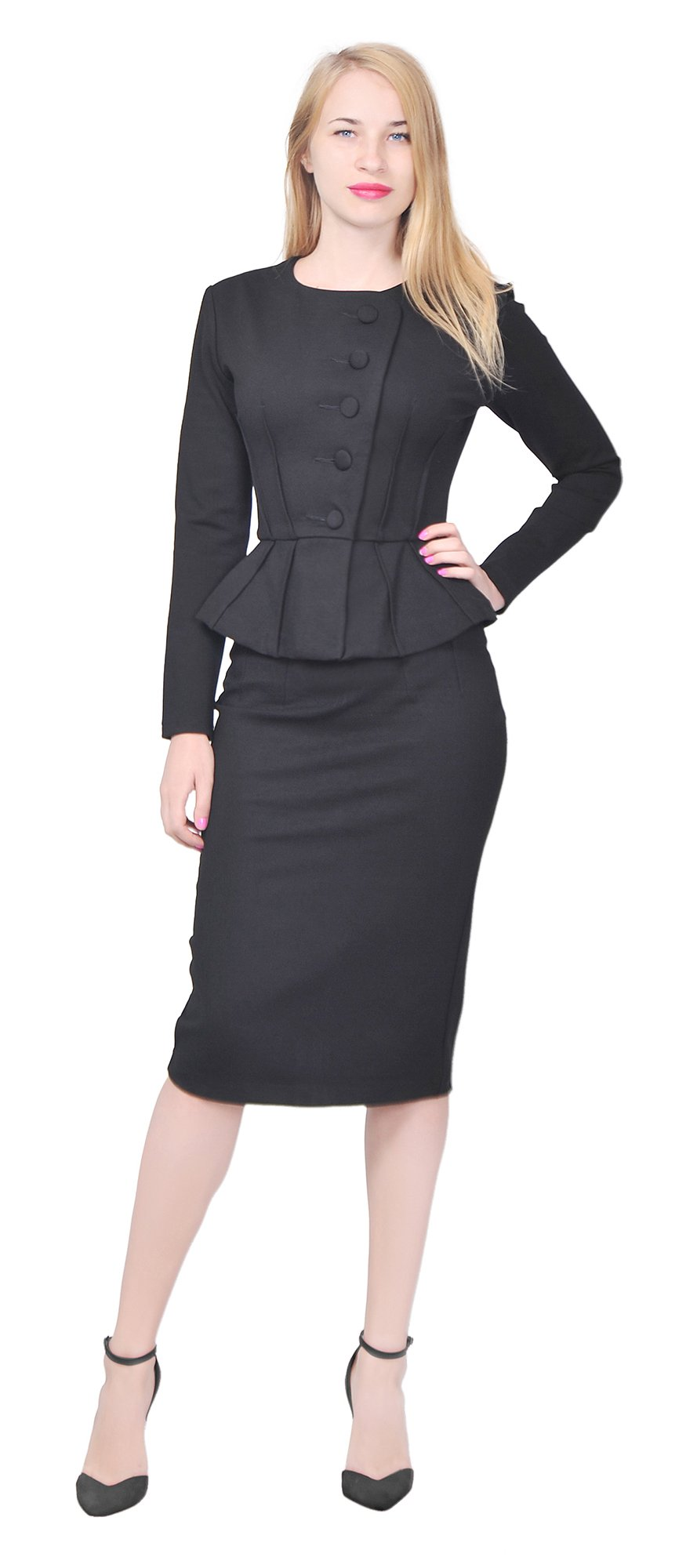 Marycrafts Women's Formal Office Business Shirt Jacket Skirt Suit 6 Black